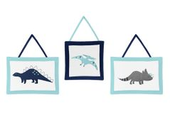 Blue and Green Mod Dinosaur Wall Hanging Accessories by Sweet Jojo Designs