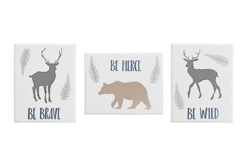 Blue and Grey Deer and Bear Wall Art Room Decor Hangings for Baby, Nursery, Kids and Childrens Woodland Animals Collection by Sweet Jojo Designs - Set of 3 - Click to enlarge