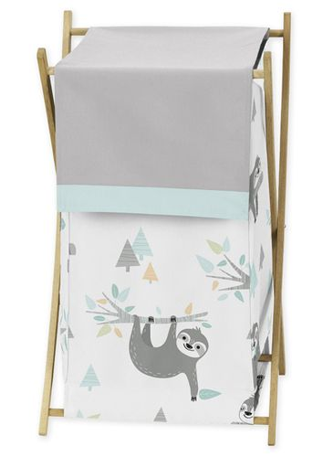 Blue and Grey Jungle Sloth Leaf Baby Kid Clothes Laundry Hamper by Sweet Jojo Designs - Turquoise, Gray and Green Botanical Rainforest - Click to enlarge