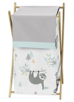 Blue and Grey Jungle Sloth Leaf Baby Kid Clothes Laundry Hamper by Sweet Jojo Designs - Turquoise, Gray and Green Botanical Rainforest
