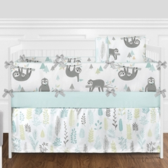 Blue and Grey Jungle Sloth Leaf Baby Unisex Boy or Girl Nursery Crib Bedding Set with Bumper by Sweet Jojo Designs - 9 pieces - Turquoise, Gray and Green Tropical Botanical Rainforest