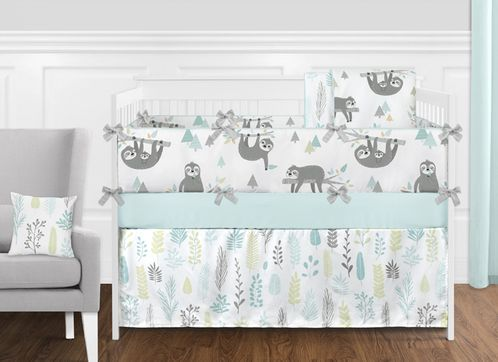 Blue and Grey Jungle Sloth Leaf Baby Unisex Boy or Girl Nursery Crib Bedding Set with Bumper by Sweet Jojo Designs - 9 pieces - Turquoise, Gray and Green Tropical Botanical Rainforest - Click to enlarge