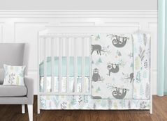 Blue and Grey Jungle Sloth Leaf Baby Unisex Boy or Girl Nursery Crib Bedding Set without Bumper by Sweet Jojo Designs - 11 pieces - Turquoise, Gray and Green Tropical Botanical Rainforest