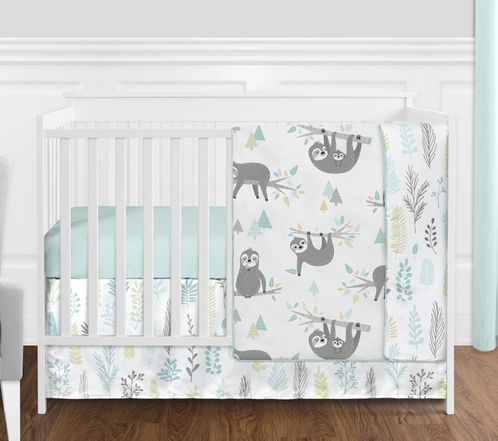 Blue and Grey Jungle Sloth Leaf Baby Unisex Boy or Girl Nursery Crib Bedding Set without Bumper by Sweet Jojo Designs - 4 pieces - Turquoise, Gray and Green Tropical Botanical Rainforest - Click to enlarge