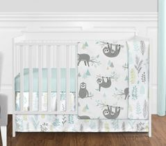 Blue and Grey Jungle Sloth Leaf Baby Unisex Boy or Girl Nursery Crib Bedding Set without Bumper by Sweet Jojo Designs - 4 pieces - Turquoise, Gray and Green Tropical Botanical Rainforest