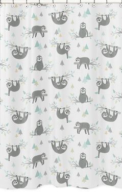 Blue and Grey Jungle Sloth Leaf Bathroom Fabric Bath Shower Curtain by Sweet Jojo Designs - Turquoise, Gray and Green Botanical Rainforest