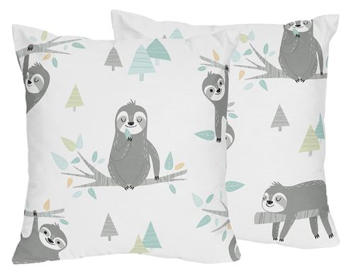 Blue and Grey Jungle Sloth Leaf Decorative Accent Throw Pillows by Sweet Jojo Designs - Set of 2 - Turquoise, Gray and Green Botanical Rainforest - Click to enlarge