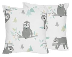 Blue and Grey Jungle Sloth Leaf Decorative Accent Throw Pillows by Sweet Jojo Designs - Set of 2 - Turquoise, Gray and Green Botanical Rainforest