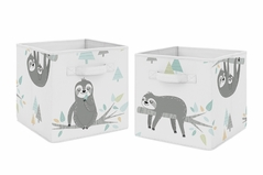 Blue and Grey Jungle Sloth Leaf Foldable Fabric Storage Cube Bins Boxes Organizer Toys Kids Baby Childrens by Sweet Jojo Designs - Set of 2 - Turquoise, Gray and Green Botanical Rainforest