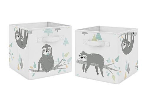 Blue and Grey Jungle Sloth Leaf Foldable Fabric Storage Cube Bins Boxes Organizer Toys Kids Baby Childrens by Sweet Jojo Designs - Set of 2 - Turquoise, Gray and Green Botanical Rainforest - Click to enlarge