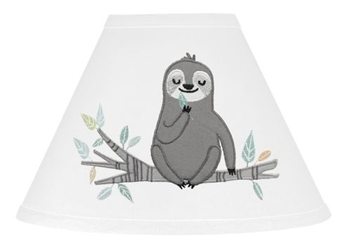 Blue and Grey Jungle Sloth Leaf Lamp Shade by Sweet Jojo Designs - Turquoise, Gray and Green Botanical Rainforest - Click to enlarge