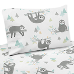 Blue and Grey Jungle Sloth Leaf Queen Sheet Set by Sweet Jojo Designs - 4 piece set - Turquoise, Gray and Green Botanical Rainforest