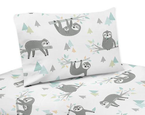 Blue and Grey Jungle Sloth Leaf Queen Sheet Set by Sweet Jojo Designs - 4 piece set - Turquoise, Gray and Green Botanical Rainforest - Click to enlarge