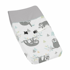 Blue and Grey Jungle Sloth Leaf Unisex Boy or Girl Baby Nursery Changing Pad Cover by Sweet Jojo Designs - Turquoise, Gray and Green Botanical Rainforest