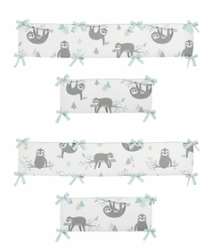 Blue and Grey Jungle Sloth Leaf Unisex Boy or Girl Baby Nursery Crib Bumper Pad by Sweet Jojo Designs - Turquoise, Gray and Green Tropical Botanical Rainforest