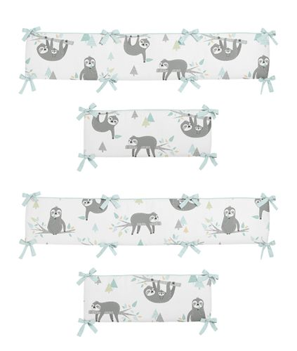 Blue and Grey Jungle Sloth Leaf Unisex Boy or Girl Baby Nursery Crib Bumper Pad by Sweet Jojo Designs - Turquoise, Gray and Green Tropical Botanical Rainforest - Click to enlarge