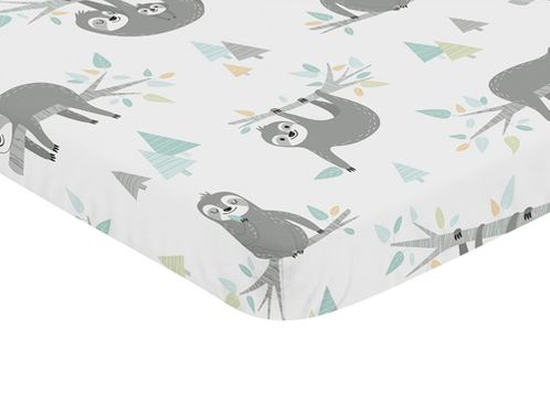 Blue and Grey Jungle Sloth Leaf Unisex Boy or Girl Baby Nursery Fitted Mini Portable Crib Sheet by Sweet Jojo Designs For Mini Crib or Pack and Play - Turquoise, Gray and Green Botanical Rainforest - Click to enlarge