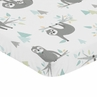 Blue and Grey Jungle Sloth Leaf Unisex Boy or Girl Baby Nursery Fitted Mini Portable Crib Sheet by Sweet Jojo Designs For Mini Crib or Pack and Play - Turquoise, Gray and Green Botanical Rainforest