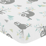 Blue and Grey Jungle Sloth Leaf Unisex Boy or Girl Baby or Toddler Nursery Fitted Crib Sheet by Sweet Jojo Designs - Turquoise, Gray and Green Botanical Rainforest
