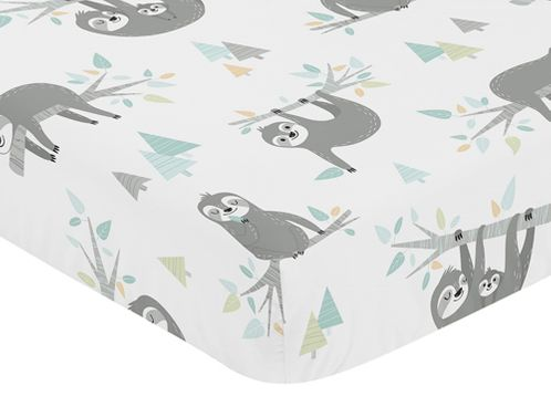 Blue and Grey Jungle Sloth Leaf Unisex Boy or Girl Baby or Toddler Nursery Fitted Crib Sheet by Sweet Jojo Designs - Turquoise, Gray and Green Botanical Rainforest - Click to enlarge