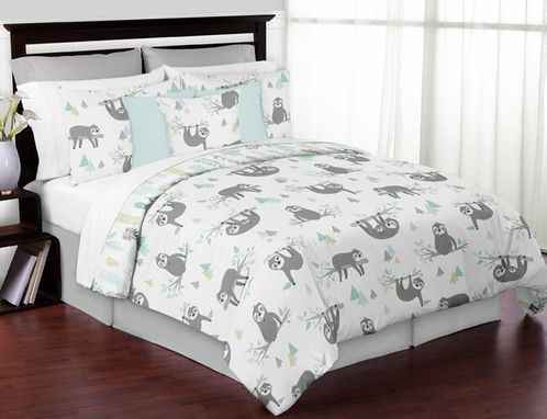 Blue and Grey Jungle Sloth Leaf Unisex Boy or Girl Full / Queen Size Kid Childrens Bedding Comforter Set by Sweet Jojo Designs - 3 pieces - Turquoise, Gray and Green Tropical Botanical Rainforest - Click to enlarge