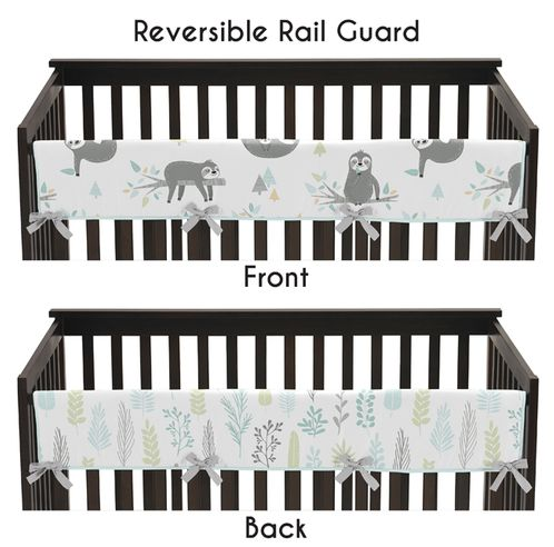 Blue and Grey Jungle Sloth Leaf Unisex Boy or Girl Long Front Crib Rail Guard Baby Teething Cover Protector Wrap by Sweet Jojo Designs - Turquoise, Gray and Green Botanical Rainforest - Click to enlarge