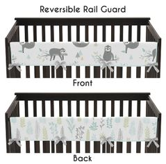 Blue and Grey Jungle Sloth Leaf Unisex Boy or Girl Long Front Crib Rail Guard Baby Teething Cover Protector Wrap by Sweet Jojo Designs - Turquoise, Gray and Green Botanical Rainforest