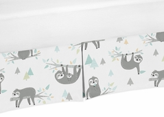 Blue and Grey Jungle Sloth Leaf Unisex Boy or Girl Pleated Baby Nursery Crib Bed Skirt Dust Ruffle by Sweet Jojo Designs - Turquoise, Gray and Green Botanical Rainforest