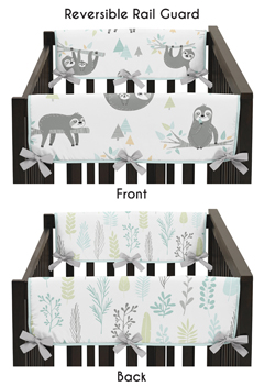 Blue and Grey Jungle Sloth Leaf Unisex Boy or Girl Side Crib Rail Guards Baby Teething Cover Protector Wrap by Sweet Jojo Designs - Set of 2 - Turquoise, Gray and Green Botanical Rainforest