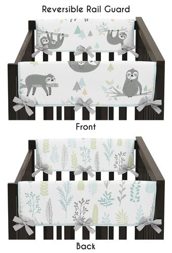 Blue and Grey Jungle Sloth Leaf Unisex Boy or Girl Side Crib Rail Guards Baby Teething Cover Protector Wrap by Sweet Jojo Designs - Set of 2 - Turquoise, Gray and Green Botanical Rainforest - Click to enlarge
