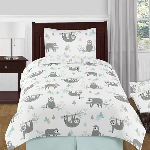 Blue and Grey Jungle Sloth Leaf Unisex Boy or Girl Twin Size Kid Childrens Bedding Comforter Set by Sweet Jojo Designs - 4 pieces - Turquoise, Gray and Green Tropical Botanical Rainforest - Click to enlarge