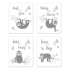 Blue and Grey Jungle Sloth Leaf Wall Art Prints Room Decor for Baby, Nursery, and Kids by Sweet Jojo Designs - Set of 4 - Be You, Hang In There, Take it Easy, Time to Nap Turquoise, Gray and Green Tropical Botanical Rainforest