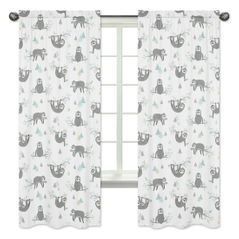 Blue and Grey Jungle Sloth Leaf Window Treatment Panels Curtains by Sweet Jojo Designs - Set of 2 - Turquoise, Gray and Green Botanical Rainforest