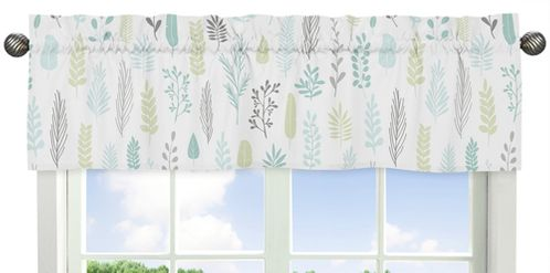 Blue and Grey Jungle Sloth Leaf Window Treatment Valance by Sweet Jojo Designs - Turquoise, Gray and Green Botanical Rainforest - Click to enlarge
