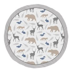 Blue and Grey Playmat Tummy Time Baby and Infant Play Mat for Woodland Animal Collection by Sweet Jojo Designs