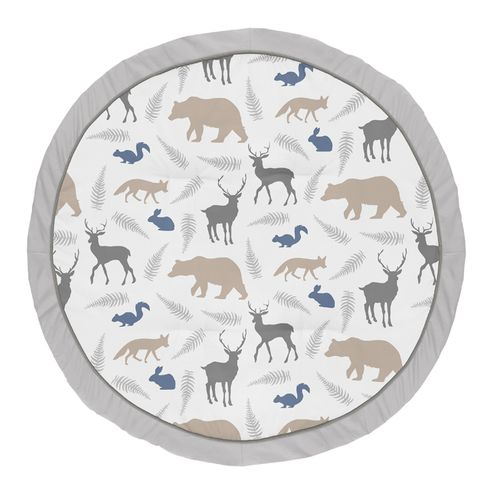 Blue and Grey Playmat Tummy Time Baby and Infant Play Mat for Woodland Animal Collection by Sweet Jojo Designs - Click to enlarge