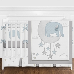 Blue and Grey Safari Elephant Baby Boy Nursery Crib Bedding Set with Bumper by Sweet Jojo Designs - 9 pieces - Gray Gold Star Moon Cloud