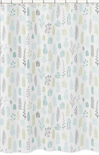 Blue and Grey Tropical Leaf Bathroom Fabric Bath Shower Curtain by Sweet Jojo Designs - Turquoise, Gray and Green Botanical Rainforest Jungle Sloth Collection - Click to enlarge