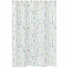 Blue and Grey Tropical Leaf Bathroom Fabric Bath Shower Curtain by Sweet Jojo Designs - Turquoise, Gray and Green Botanical Rainforest Jungle Sloth Collection