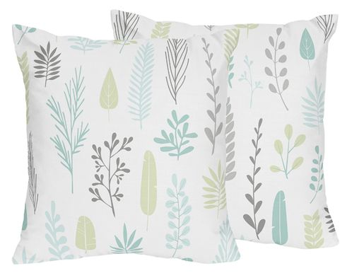 Blue and Grey Tropical Leaf Decorative Accent Throw Pillows by Sweet Jojo Designs - Set of 2 - Turquoise, Gray and Green Botanical Rainforest Jungle Sloth Collection - Click to enlarge