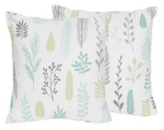 Blue and Grey Tropical Leaf Decorative Accent Throw Pillows by Sweet Jojo Designs - Set of 2 - Turquoise, Gray and Green Botanical Rainforest Jungle Sloth Collection