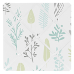 Blue and Grey Tropical Leaf Fabric Memory Memo Photo Bulletin Board by Sweet Jojo Designs - Turquoise, Gray and Green Botanical Rainforest Jungle Sloth Collection
