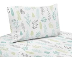 Blue and Grey Tropical Leaf Queen Sheet Set by Sweet Jojo Designs - 4 piece set - Turquoise, Gray and Green Botanical Rainforest Jungle Sloth Collection