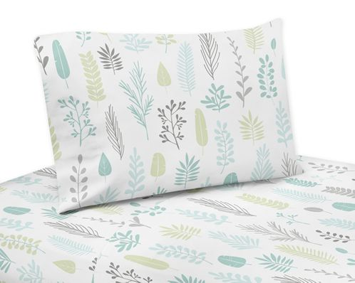 Blue and Grey Tropical Leaf Queen Sheet Set by Sweet Jojo Designs - 4 piece set - Turquoise, Gray and Green Botanical Rainforest Jungle Sloth Collection - Click to enlarge