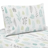Blue and Grey Tropical Leaf Twin Sheet Set by Sweet Jojo Designs - 3 piece set - Turquoise, Gray and Green Botanical Rainforest Jungle Sloth Collection