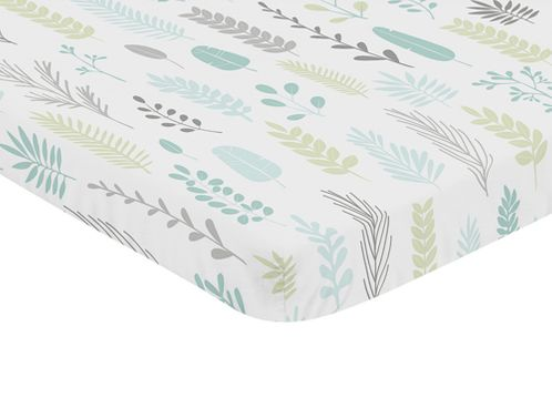 Blue and Grey Tropical Leaf Unisex Boy or Girl Baby Nursery Fitted Mini Portable Crib Sheet by Sweet Jojo Designs For Mini Crib or Pack and Play - Turquoise, Gray and Green Botanical Rainforest Jungle Sloth Collection - Click to enlarge