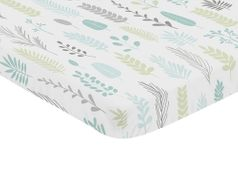 Blue and Grey Tropical Leaf Unisex Boy or Girl Baby Nursery Fitted Mini Portable Crib Sheet by Sweet Jojo Designs For Mini Crib or Pack and Play - Turquoise, Gray and Green Botanical Rainforest Jungle Sloth Collection