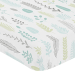 Blue and Grey Tropical Leaf Unisex Boy or Girl Baby or Toddler Nursery Fitted Crib Sheet by Sweet Jojo Designs - Turquoise, Gray and Green Botanical Rainforest Jungle Sloth Collection