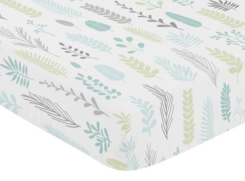 Blue and Grey Tropical Leaf Unisex Boy or Girl Baby or Toddler Nursery Fitted Crib Sheet by Sweet Jojo Designs - Turquoise, Gray and Green Botanical Rainforest Jungle Sloth Collection - Click to enlarge