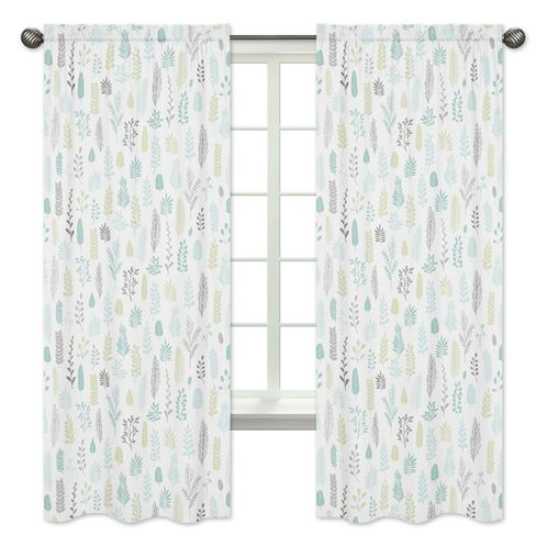 Blue and Grey Tropical Leaf Window Treatment Panels Curtains by Sweet Jojo Designs - Set of 2 - Turquoise, Gray and Green Botanical Rainforest Jungle Sloth Collection - Click to enlarge